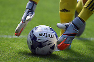 a close up view as Cardiff city goalkeeper Simon Moore picks up the ball. Skybet football league championship match, Cardiff city v Fulham at the Cardiff city stadium in Cardiff, South Wales on Saturday 8th August  2015.<br /> pic by Andrew Orchard, Andrew Orchard sports photography.