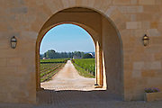 The medieval entrance to the chateau opening out to the vineyards - Chateau Grand Mayne, Saint Emilion, Bordeaux