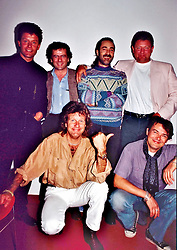 Musical british legend, bas player, singer and producer Greg Lake dies last night at 69, after a long battle against cancer. File imager from the ELP reunion in 1992. 08 Dec 2016 Pictured: Greg Lake and ELP and Premiata Forneria Marconi aka PFM. Photo credit: Bruno Marzi / MEGA TheMegaAgency.com +1 888 505 6342