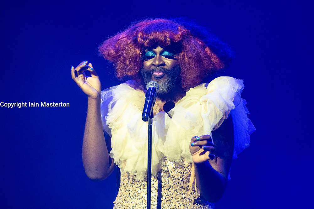 Edinburgh, Scotland, UK; 1 August, 2018. Cabaret acts from the  Assembly Gala Launch - Assembly's renowned opening night gala showcasing this year's programme highlights. Pictured; host Le Gateau Chocolat