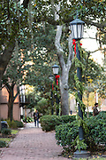 Christmas decorations in Johnson Square in historic Savannah, GA.