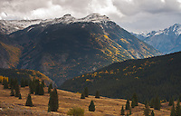 Looking east from Molas Pass during the first snow storm of the autumn season.  San Juan Mountains, Colorado.