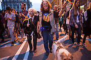 People march to the city council of Barcelona to claim a referendum on republic. Many people claimed the independence of Catalonia. / More than 5 thousands of people in Barcelona city took the Catalonia Square on Monday evening to demand a referendum on monarchy or republic, after King Juan Carlos announced his plans to abdicate and hand over power to his son Felipe. In Catalonia many people see the king as part of Spain's problems of the economic crisis. As the political analysts have linked the abdication to the issue of Catalonia's Independence, people on Barcelona's streets have claimed the independence supported by some political parties as CUP, ERC, ICV and others. 2th June 2014. Barcelona city center. Eva Parey/4SEE.