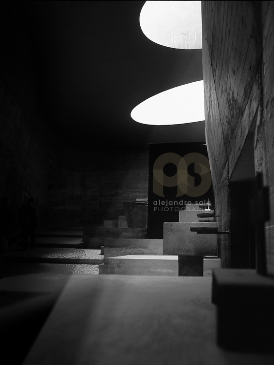 Éveux, France, Alvernia-Rodano-Alpi, 1980: Interior view of the crypt, Sainte Marie de La Tourette Convent (1946) - Le Corbusier arch - Visit Shop Images to purchase and download a digital file and explore other AS images archive. Photographs by Alejandro Sala