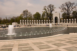 Washington DC, The National World War II Memorial, showing Pacific and European Theatres, with 4000 stars one each for 100 men who died, hosting veterans returning for a final look.  Photo wash99310-70634..Photo copyright Lee Foster, www.fostertravel.com, lee@fostertravel.com, 510-549-2202..
