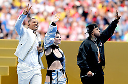 Will Smith (left) Era Istrefi and Nicky Jam perform at the closing ceremony during the FIFA World Cup Final at the Luzhniki Stadium, Moscow.