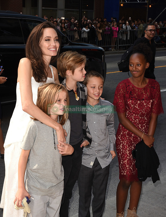 (L-R) Angelina Jolie, Vivienne Jolie-Pitt, Shiloh Jolie-Pitt, Knox Leon Jolie-Pitt, and Zahara Jolie-Pitt attend 'The Breadwinner' premiere during the 2017 Toronto International Film Festival at Winter Garden Theatre on September 10, 2017 in Toronto, Canada.  (Photo by imageSPACE)