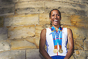 At the foot of the ruins of the Norman castle in Tonbridge, Kelly Holmes is honoured by the Tonbridge and Malling District Council  and an estimated crowd of 40,000. © Guy Bell Photography, GBPhotos
