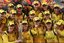 © Licensed to London News Pictures. 07/10/2012. The Australian Womens cricket team celebrate on the podium during the World T20 Cricket womens Final match between Australia Vs West Indies at the R Premadasa International Cricket Stadium, Colombo. Photo credit : Asanka Brendon Ratnayake/LNP
