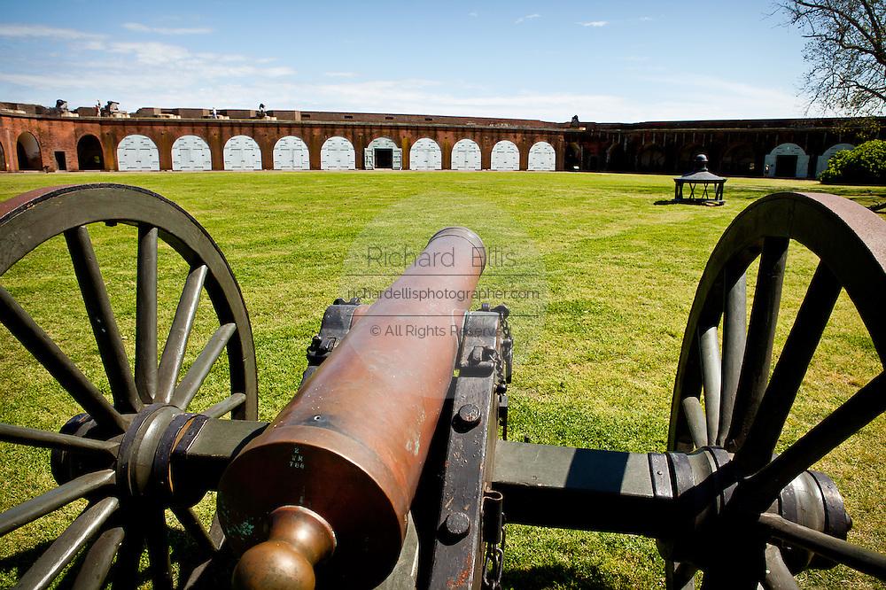 Canons inside Fort Pulaski National Monument on Cockspur Island between Savannah and Tybee Island, Georgia.