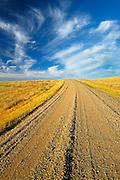 Road on Canadian prairie   (West Block) <br /> Grasslands National Park<br /> Saskatchewan<br /> Canada