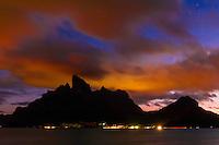 Night view of Mt. Otemanu, Bora Bora, Society Islands, French Polynesia.