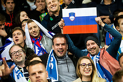 Supporters of Slovenia during the 2020 UEFA European Championships group G qualifying match between Slovenia and Austria at SRC Stozice on October 13, 2019 in Ljubljana, Slovenia. Photo by Vid Ponikvar / Sportida