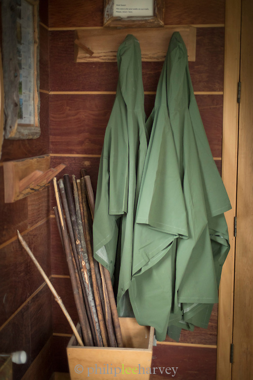 Close up of coats on entrance to Hotel Parque Quilquico, Chiloe Island, Chile