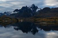 Mountain reflection in Raftsundet straight, Lofoten Islands, Norway
