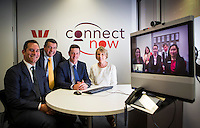 Westpac's Connect Now Launch in Melbourne. Left to right, Jason Yetton, Westpac Executive General Manager of Retail and Business Banking, Eric Gauci, Performance Coach SME Connect Now Westpac, The Hon Russel Northe MP, Minister for Energy, Resourses and Small Business, Julie Rynski Westpac General Manager Small Business, launching the program. Credit: Photo By Craig Sillitoe www.csillitoe.com