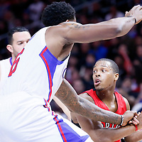 27 December 2014: Toronto Raptors guard Kyle Lowry (7) is fouled by Los Angeles Clippers center DeAndre Jordan (6) during the Toronto Raptors 110-98 victory over the Los Angeles Clippers, at the Staples Center, Los Angeles, California, USA.