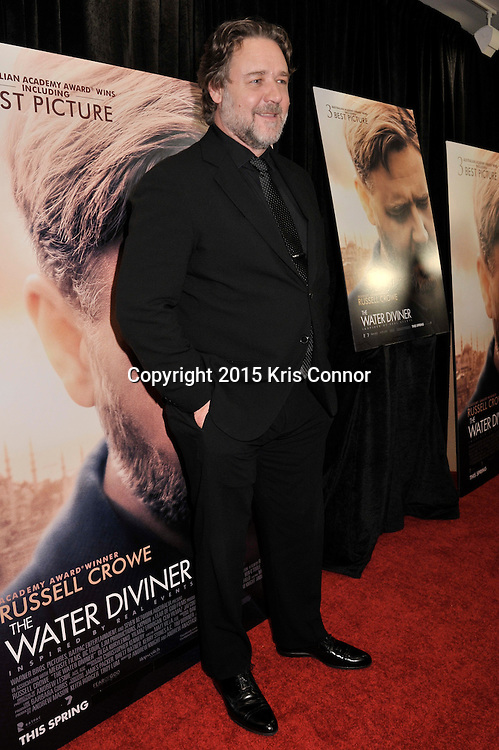 """Actor Russell Crowe attends the DC premiere of """"The Water Diviner"""" at the Burke Theater at the U.S. Navy Memorial in Washington DC on April 7th, 2015. Crowe visited the nation's capitol to promote the new Warner Bros. Pictures' movie """"The Water Diviner,"""" which will be release on April 24th. Photo by Kris Connor for Warner Bros. Pictures"""