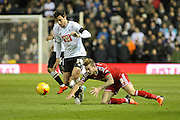 Derby County midfielder George Thorne and Cardiff City midfielder Joe Ralls challenge for the ball during the Sky Bet Championship match between Derby County and Cardiff City at the iPro Stadium, Derby, England on 21 November 2015. Photo by Aaron Lupton.