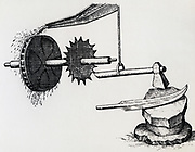 Trip hammer powered by an overshot waterwheel being used in a forge. Engraving 1617.