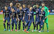 PSG players during the Champions League match between Paris Saint-Germain and Chelsea at Parc des Princes, Paris, France on 17 February 2015. Photo by Phil Duncan.
