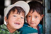 Smiling girls at school (Myanmar)