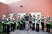 Shadow Armada Indoor Percussion and Armada Winterguards perform at all of the schools in the Oregon School District in Oregon, Wisconsin on Arpil 11, 2012.