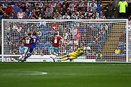 Burnley Goalkeeper Thomas Heaton makes a save. Skybet football league championship match, Burnley  v Brentford at Turf Moor in Burnley, Lancs on Saturday 22nd August 2015.<br /> pic by Chris Stading, Andrew Orchard sports photography.