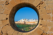 Portuguese fortifications of Mogador or Mogadore. Essaouira, Morocco .<br /> <br /> Visit our MOROCCO HISTORIC PLAXES PHOTO COLLECTIONS for more   photos  to download or buy as prints https://funkystock.photoshelter.com/gallery-collection/Morocco-Pictures-Photos-and-Images/C0000ds6t1_cvhPo
