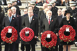 Tim Farron, Angus Robertson, Jeremy Corbyn, PM Theresa May beim Remembrance Sunday in London / 131116 *** Remembrance Sunday, London, 13 Nov 2016 ***