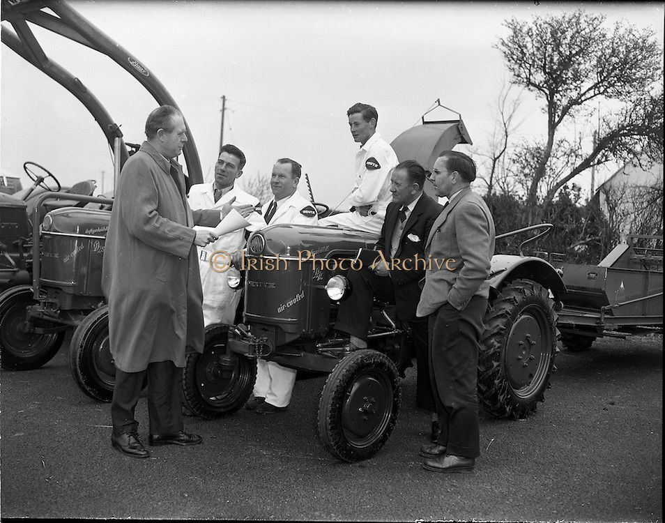 01/04/1960.04/01/1960.01 April 1960.Deutz tractors demonstration team leave on tour of the country..L-R: R.J. Walby Director Mcneils (Ireland) Ltd, Thomas Long, Daniel McEvoy and Jimmy Cunningham the Deutz tractor drivers, Mr A.O. Rich Tractor Sales Dept McNeils and Herr Hans Friedl, Deutz Tractor Service Cologne.