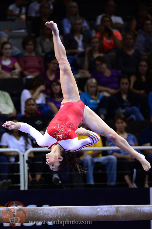 June 29, 2012; San Jose, CA, USA; Jordyn Wieber performs on the balance beam during the 2012 USA Gymnastics Olympic Team Trials at HP Pavilion.