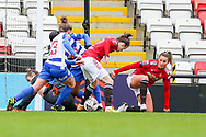 Goalmouth scramble during the FA Women's Super League match between Manchester United Women and Reading LFC at Leigh Sports Village, Leigh, United Kingdom on 7 February 2021.