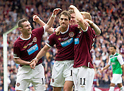 The William Hill Scottish FA Cup Final 2012 Hibernian Football Club v Heart Of Midlothian Football Club..19-05-12...Hearts Rudi Skacel celebrates scoring goal number 5 to make it 5-1  with Andy Driver, Darren Barr and Stephen Elliott     during the William Hill Scottish FA Cup Final 2012 between (SPL) Scottish Premier League clubs Hibernian FC and Heart Of Midlothian FC. It's the first all Edinburgh Final since 1986 which Hearts won 3-1. Hearts bid to win the trophy since their last victory in 2006, and Hibs aim to win the Scottish Cup for the first time since 1902....At The Scottish National Stadium, Hampden Park, Glasgow...Picture Mark Davison/ ProLens PhotoAgency/ PLPA.Saturday 19th May 2012.