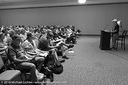 John Classen addresses the riders meeting at the Daytona Beach Resort on Thursday before the next morning start of the Motorcycle Cannonball Cross-Country Endurance Run. Daytona Beach, FL, USA. September 4, 2014.  Photography ©2014 Michael Lichter.