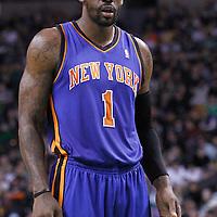 04 March 2012: New York Knicks power forward Amare Stoudemire (1) is seen during the Boston Celtics 115-111 (OT) victory over the New York Knicks at the TD Garden, Boston, Massachusetts, USA.