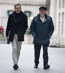 © Licensed to London News Pictures. 28/01/2018. London, UK. Labour party leader JEREMY CORBYN and his Director of Strategy and Communications SEUMAS MILNE, arrive at BBC Broadcasting House in London ahead of an appearance on The Andrew Marr Show on BBC One. Photo credit: Ben Cawthra/LNP