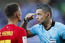 (l-r) Thorgan Hazard of Belgium, referee Damir Skomina during the 2018 FIFA World Cup Russia group G match between England and Belgium at the Kalingrad stadium on June 28, 2018 in Kaliningrad, Russia