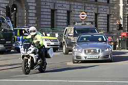 """© Licensed to London News Pictures. 08/01/2019. London, UK. Theresa May's convoy arrives at Houses of Parliament. Security has been intensified outside Parliament after the Conservative MP Anna Soubry was chants by the protesters on Monday calling her a """"Nazi"""". Photo credit: Dinendra Haria/LNP"""