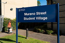 Glasgow, Scotland, UK. 24 September, 2020. Views of Glasgow University Murano Street Student Village, student flats in Glasgow. Following over 100 positive tests for Covid-19 at the university, over 600 students are now self-isolating inside their accommodation at Murano and Cairncross in the city. Iain Masterton/Alamy Live News