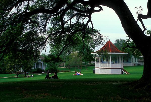 Stock photo of a gazebo in Sam Houston Park