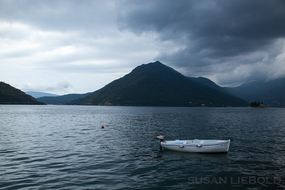 A boat in the Bay of Kotor in Perast, Montenegro.