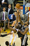 Golden State Warriors forward Kevin Durant (35) misses a lay up against the San Antonio Spurs at Oracle Arena in Oakland, Calif., on October 25, 2016. (Stan Olszewski/Special to S.F. Examiner)