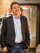 28 MAY 2019 - AMES, IOWA: Governor STEVE BULLOCK (D-MT) waits to speak at a campaign stop in a coffee shop in Ames. Gov. Bullock is in a crowded field of Democrats vying to be the party's Presidential nominee in 2020. Iowa traditionally hosts the the first election event of the presidential election cycle. The Iowa Caucuses will be on Feb. 3, 2020.              PHOTO BY JACK KURTZ