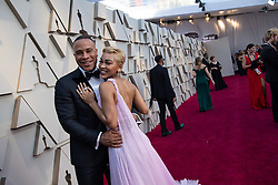 DeVon Franklin (L) and Meagan Good (R) arrives on the red carpet of The 91st Oscars® at the Dolby® Theatre in Hollywood, CA on Sunday, February 24, 2019.