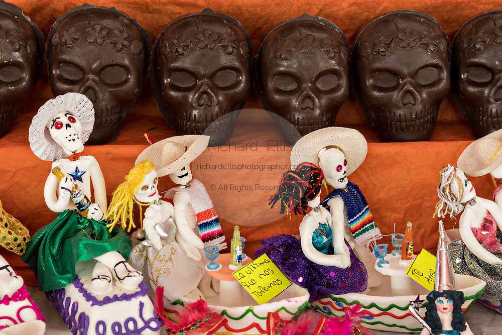 Chocolate skull candy on display for the Day of the Dead festival October 31, 2017 in Patzcuaro, Michoacan, Mexico.