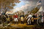 The scene of the surrender of the British General John Burgoyne at Saratoga, on October 17, 1777, was a turning point in the American Revolutionary War that prevented the British from dividing New England from the rest of the colonies. The central figure is the American General Horatio Gates, who refused to take the sword offered by General Burgoyne, and, treating him as a gentleman, invites him into his tent. All of the figures in the scene are portraits of specific officers. British Major General William Phillips (British Army officer) (in red) British Lieutenant General John Burgoyne (in red) American Major General Horatio Gates (in blue) painted by John Trumbull (1756–1843)