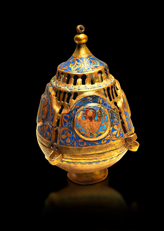 Limoges Gothic Christian thurible or incense burner, 13th century. Copper engraved with an application of Champlevé enamelling. Origin Unknown. Inv MNAC 4550. National Museum of Catalan Art (MNAC), Barcelona, Spain .<br /> <br /> If you prefer you can also buy from our ALAMY PHOTO LIBRARY  Collection visit : https://www.alamy.com/portfolio/paul-williams-funkystock/limoges-enamel-antiquities.html . Type -     MNAC     - into the LOWER SEARCH WITHIN GALLERY box. Refine search by adding background colour etc<br /> <br /> Visit our MEDIEVAL ART PHOTO COLLECTIONS for more   photos  to download or buy as prints https://funkystock.photoshelter.com/gallery-collection/Medieval-Middle-Ages-Art-Artefacts-Antiquities-Pictures-Images-of/C0000YpKXiAHnG2k