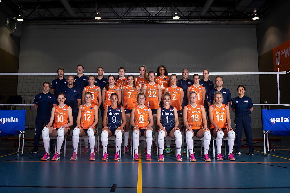 10-05-2018 NED: Team shoot Dutch volleyball team women, Arnhem<br /> Team 2018 players and staff with :<br /> Lonneke Sloetjes #10 of Netherlands<br /> Anne Buijs #11 of Netherlands<br /> Maret Balkestein-Grothues #6 of Netherlands<br /> Celeste Plak #4 of Netherlands<br /> Nicole Oude Luttikhuis #17 of Netherlands<br /> Yvon Belien #3 of Netherlands<br /> Juliet Lohuis #7 of Netherlands<br /> Nicole Koolhaas #22 of Netherlands<br /> Myrthe Schoot #9 of Netherlands<br /> Britt Bongaerts #12 of Netherlands<br /> Marrit Jasper #18 of Netherlands<br /> Nika Daalderop #19 of Netherlands<br /> Tessa Polder #20 of Netherlands<br /> Coach Jamie Morrison
