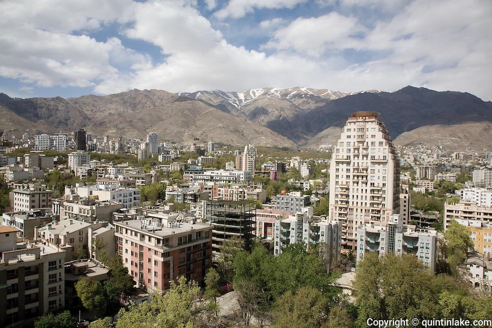 The upmarket Elahieh district of Tehran next to the Alborz mountains. Tehran, Iran, 2008